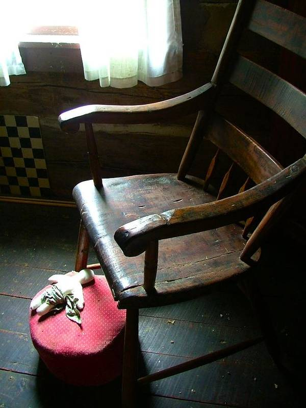 Wooden Chair Poster featuring the photograph Aunt Tillie's Sewing Chair by Julie Dant