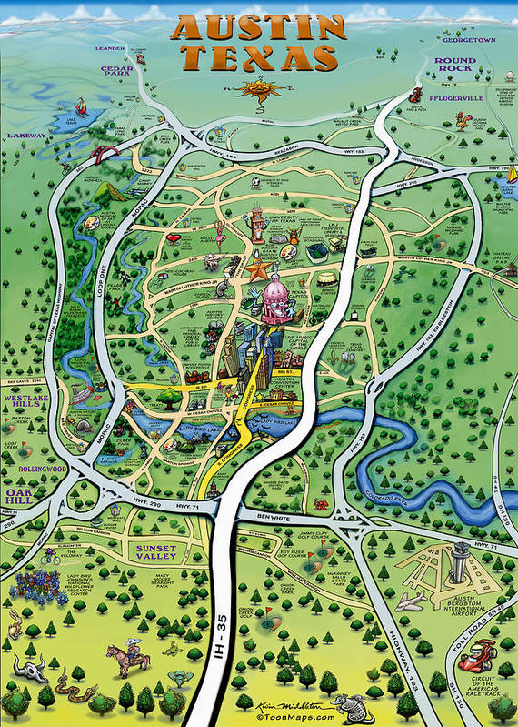 Austin Tx Cartoon Map Poster By Kevin Middleton