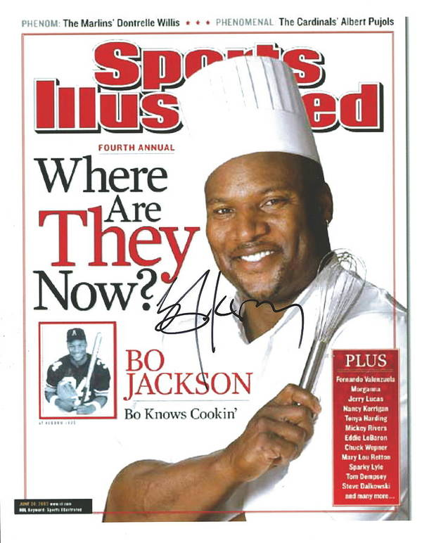 Sports Illustrated Poster featuring the photograph Autographed Sports Illustrated Cover By Bo Jackson Bo Knows Cookin' by Desiderata Gallery