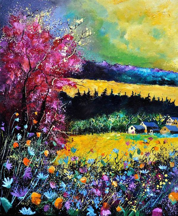 Landscape Poster featuring the painting Autumn Flowers by Pol Ledent