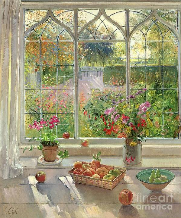 Still Life; Window Ledge; Windowsill; Basket Of Apples; Fruit; Vase Of; Pot Plant; House; Garden Poster featuring the painting Autumn Fruit And Flowers by Timothy Easton