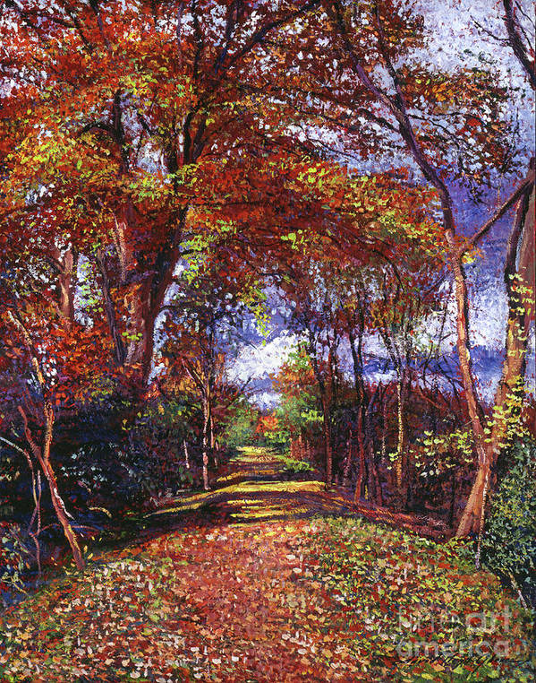 Autumn. Autumn Leaves. Country Roads. Fall Scenes. Vermont Poster featuring the painting Autumn Leaf Road by David Lloyd Glover