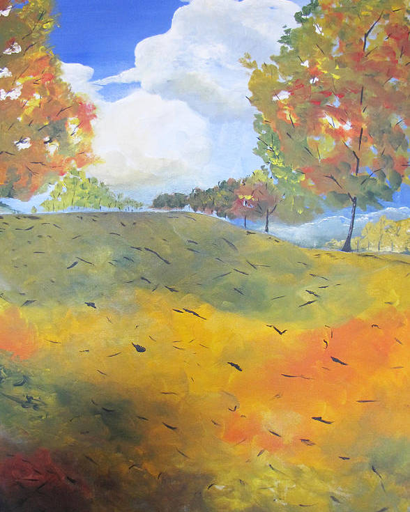 Acrylic Poster featuring the painting Autumn Leaves Panel 2 Of 2 by Gary Smith