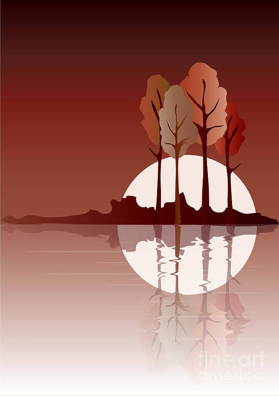 Art Poster featuring the digital art Autumn Reflected by Jane Rix