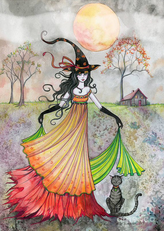Watercolor Art Witch Halloween Witches Wiccan Wicca Samhain Artwork Painting Print halloween Art full Moon Trees Autumn Fall Cat tabby Cats molly Harrison molly Harrison Witch Colorful Moon harvest Moon Illustration Poster featuring the painting Autumn Reverie by Molly Harrison