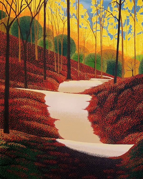 Autumn Poster featuring the painting Autumn Walk by Michael Wicksted