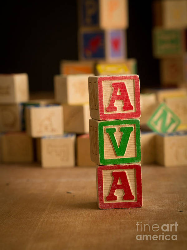Alphabet Poster featuring the photograph Ava - Alphabet Blocks by Edward Fielding