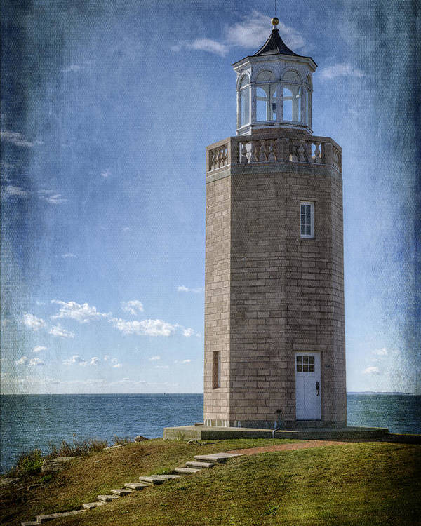 Joan Carroll Poster featuring the photograph Avery Point Lighthouse by Joan Carroll