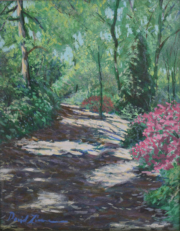 Flower Landscape Paintings Poster featuring the painting Azalea Trail by David Zimmerman