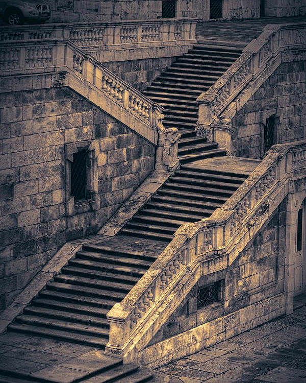 Stairway Poster featuring the photograph Back Entrance Redux by Joan Carroll