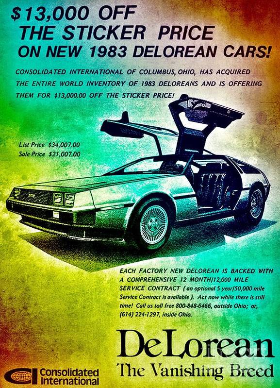 Delorean Poster featuring the digital art Back to the DeLorean by HELGE Art Gallery