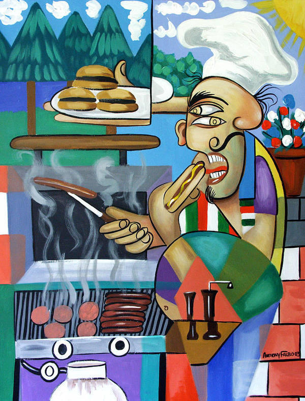 Back Yard Chef Poster featuring the painting Backyard Chef by Anthony Falbo