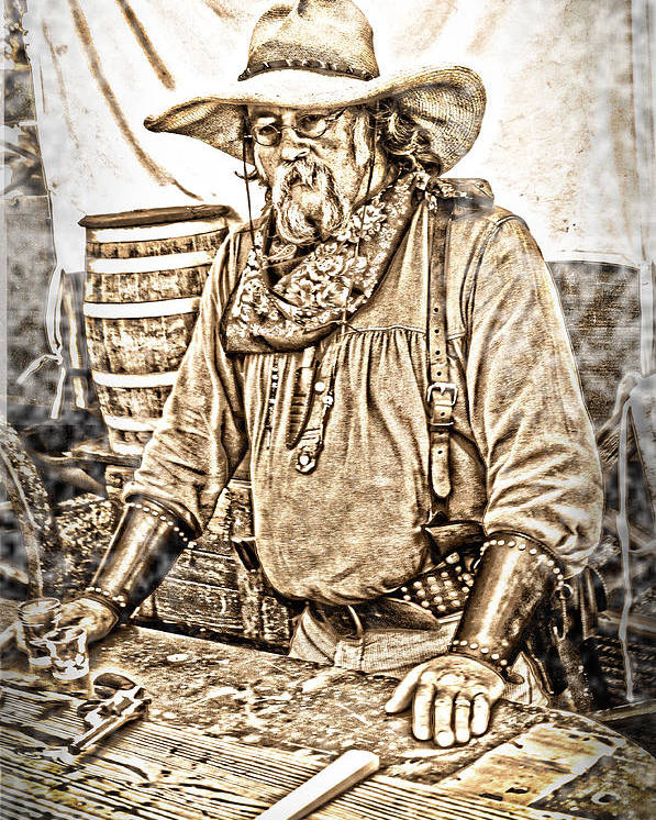 Sepia Toned Poster featuring the photograph Bad Times Pilgrim Gotta Be Ready by Randall Branham