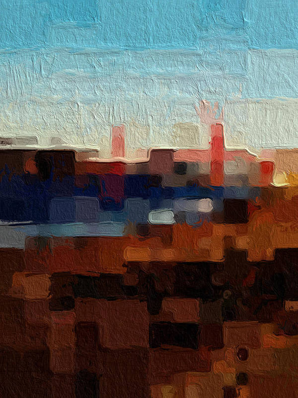 Abstract Art Poster featuring the painting Baker Beach by Linda Woods