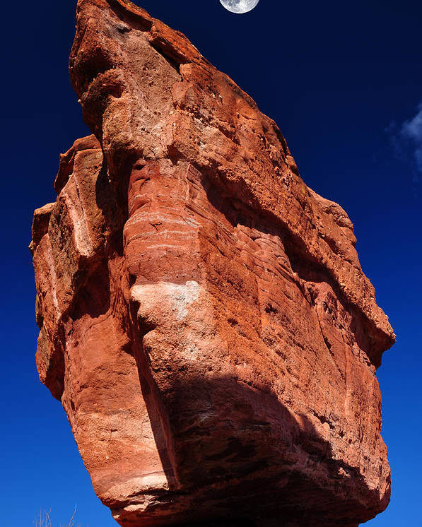 Awe Poster featuring the photograph Balanced Rock At Garden Of The Gods With Moon by John Hoffman