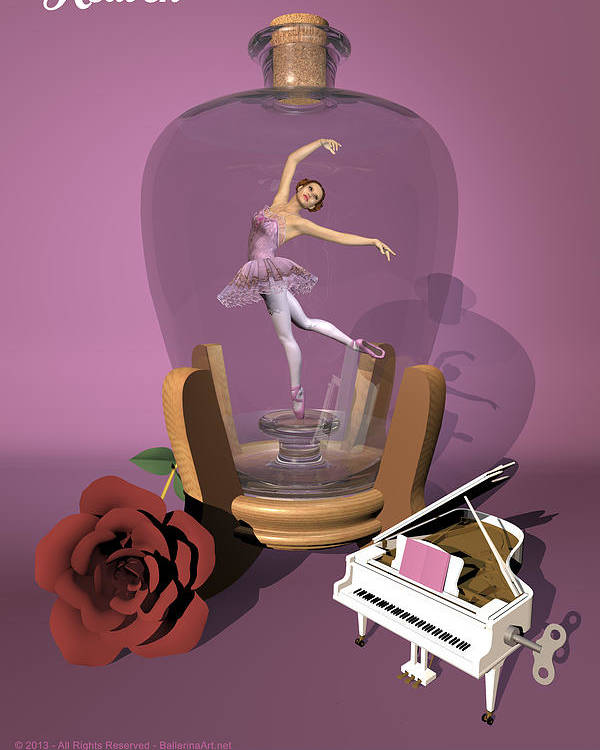 Ballerina Poster featuring the digital art Ballerina In A Bottle - Heaven by Alfred Price