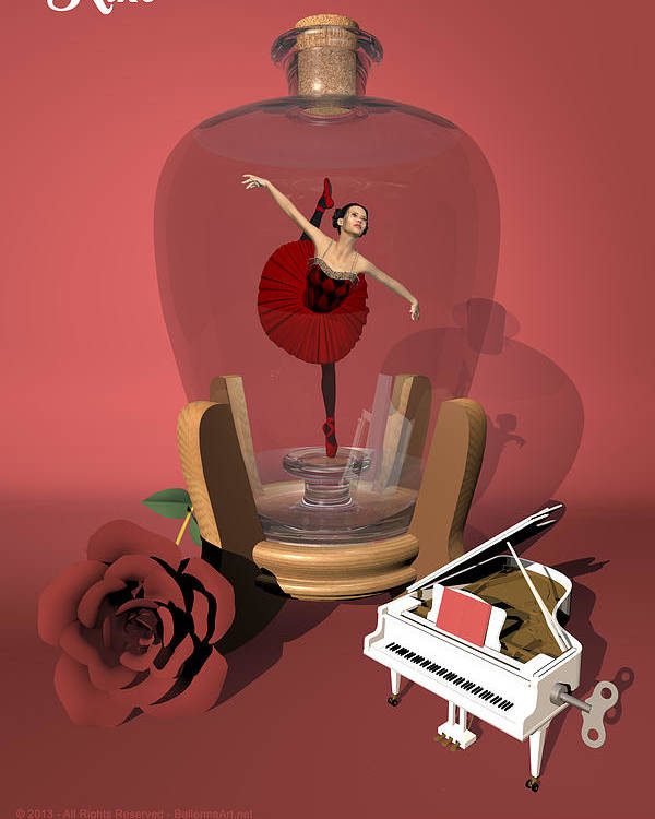 Ballerina Poster featuring the digital art Ballerina In A Bottle - Kiko by Alfred Price