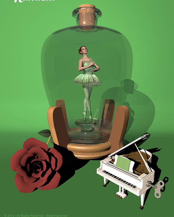 Ballerina Poster featuring the digital art Ballerina In A Bottle - Nanashi by Alfred Price