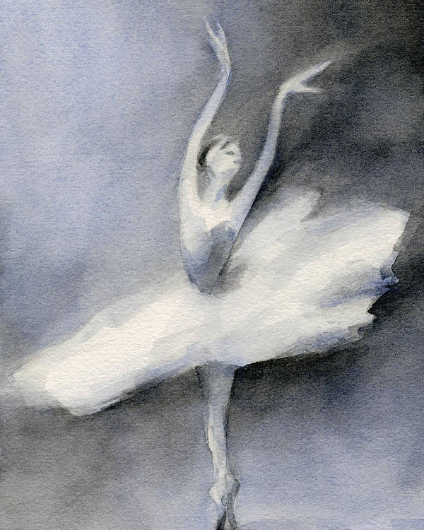 Swan Lake Poster featuring the painting Ballerina In White Tutu Watercolor Painting by Beverly Brown Prints