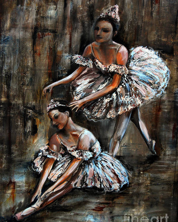 Ballet Poster featuring the painting Ballerina by Nancy Bradley