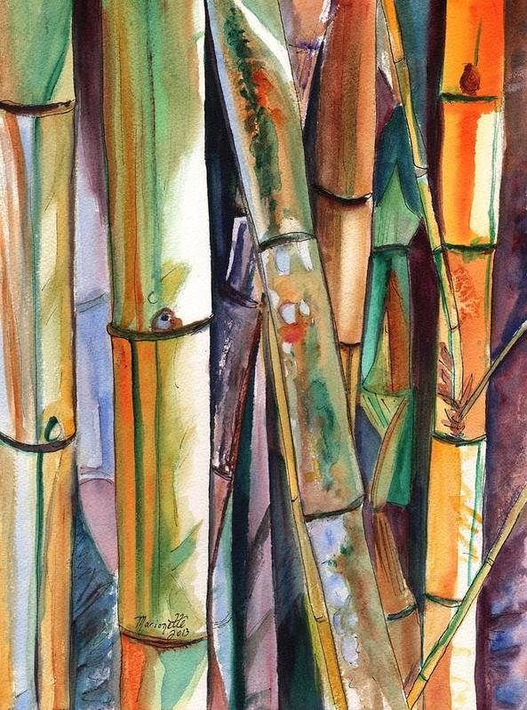 Bamboo Poster featuring the painting Bamboo Garden by Marionette Taboniar