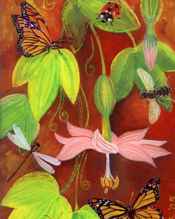 Monarch Butterfly Poster featuring the painting Bananapoka by Anna Skaradzinska