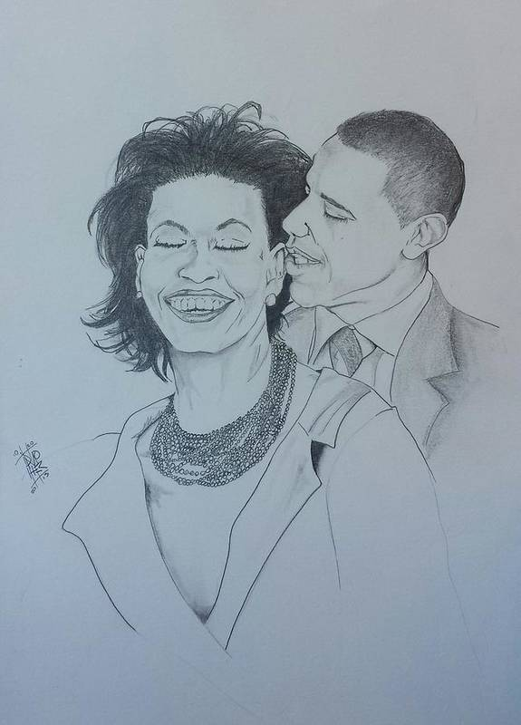 Michelle And Barrack Obama Poster featuring the drawing Bandmo by DMo Her