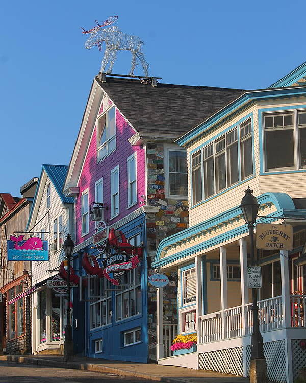 Bar Harbor Poster featuring the photograph Bar Harbor Downtown by Jeff Heimlich