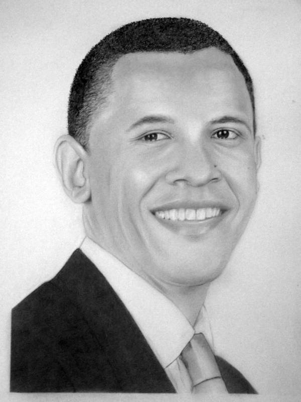 Barack Poster featuring the drawing Barack by Kendrick Roy