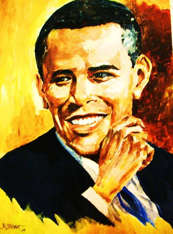 Portraits Poster featuring the painting Barack Obama by Al Brown