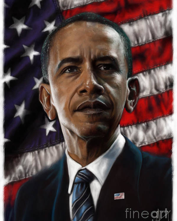 Barack Obama Poster featuring the drawing Barack Obama by Andre Koekemoer