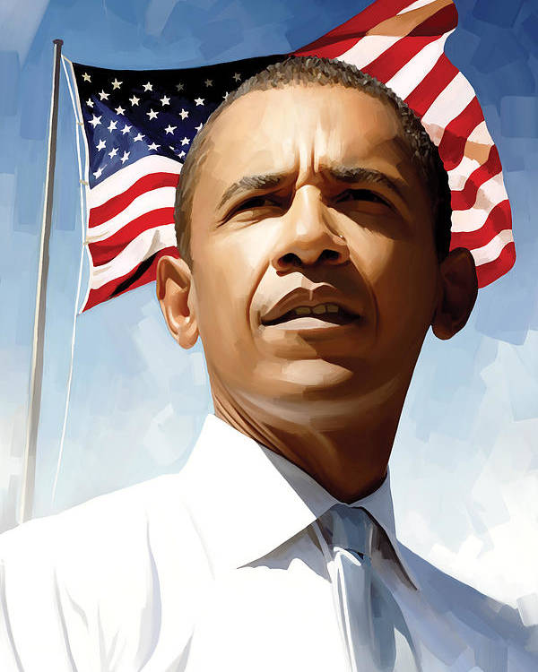 Barack Obama Paintings Poster featuring the painting Barack Obama Artwork 1 by Sheraz A