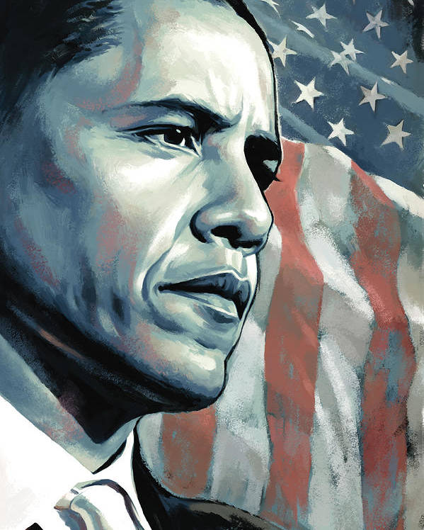 Barack Obama Paintings Poster featuring the painting Barack Obama Artwork 2 B by Sheraz A