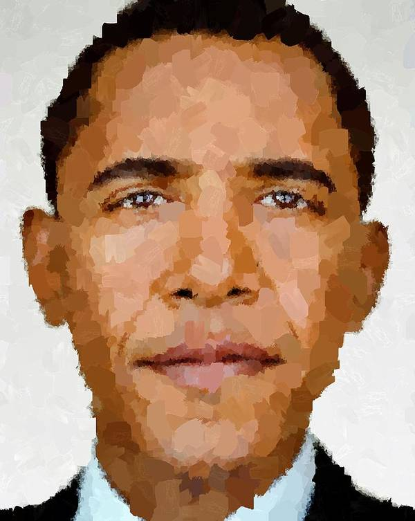 Portrait Poster featuring the painting Barack Obama by Samuel Majcen