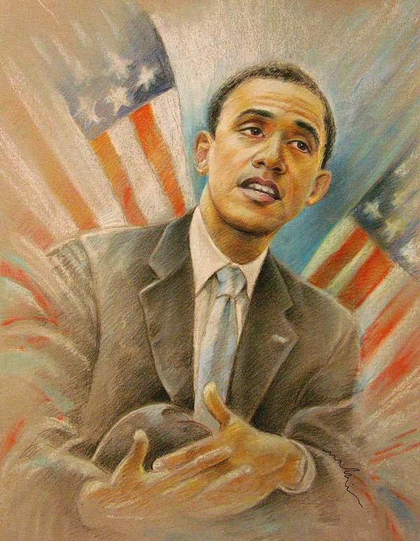 Barack Obama Portrait Poster featuring the painting Barack Obama Taking It Easy by Miki De Goodaboom