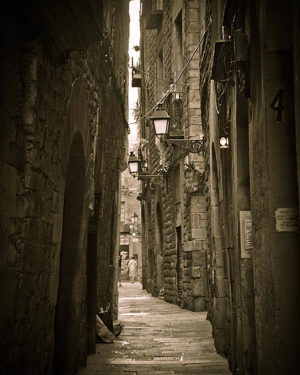 Barcelona Poster featuring the photograph Barcelona Street by Mesha Zelkovich