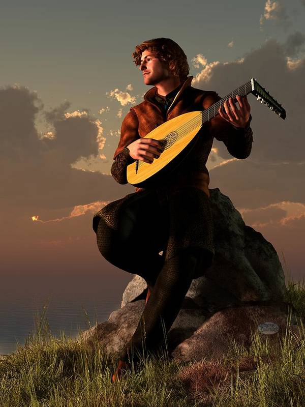 Bard Poster featuring the digital art Bard With Lute by Daniel Eskridge