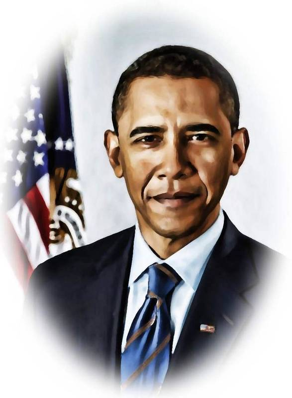 Barrack Poster featuring the painting Barrack Obama by Tyler Robbins