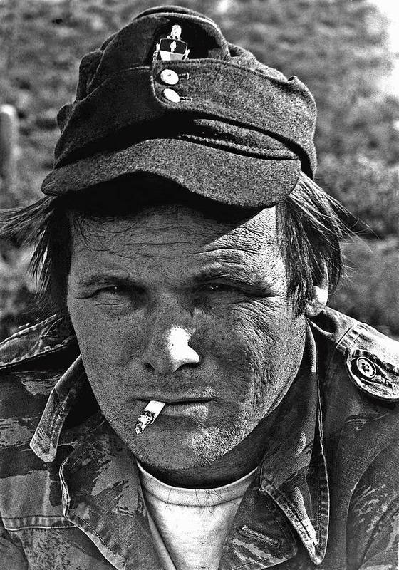 Barry Sadler The Green Berets Homage 1968 Tucson Arizona 1971 Poster featuring the photograph Barry Sadler The Green Berets Homage 1968 Tucson Arizona 1971-2008 by David Lee Guss