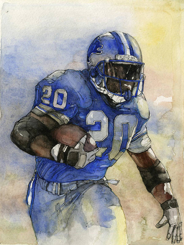 Barry Sanders Poster featuring the painting Barry Sanders by Michael Pattison