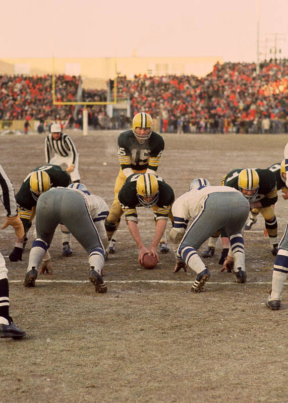 Marvin Newman Poster featuring the photograph Bart Starr Goal Line by Retro Images Archive