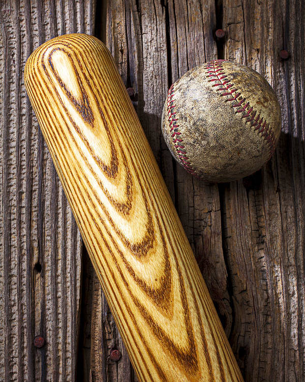 Bat Poster featuring the photograph Baseball Bat And Ball by Garry Gay