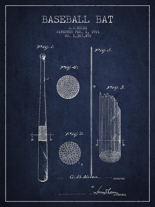 Baseball Bat Poster featuring the digital art Baseball Bat Patent Drawing From 1921 by Aged Pixel
