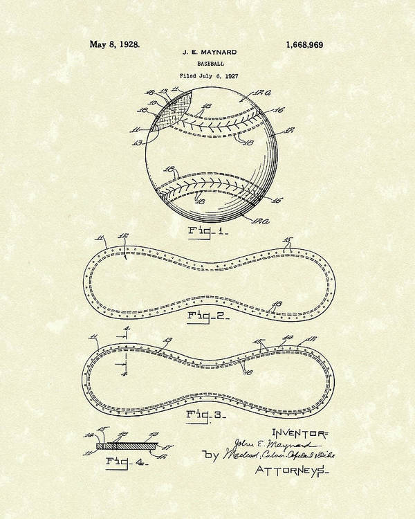 Baseball Poster featuring the drawing Baseball By Maynard 1928 Patent Art by Prior Art Design