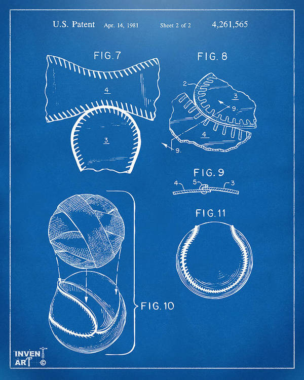 Baseball Poster featuring the digital art Baseball Construction Patent 2 - Blueprint by Nikki Marie Smith