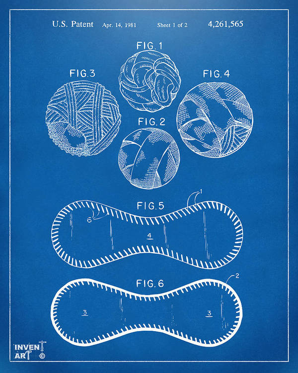 Baseball Poster featuring the drawing Baseball Construction Patent - Blueprint by Nikki Marie Smith