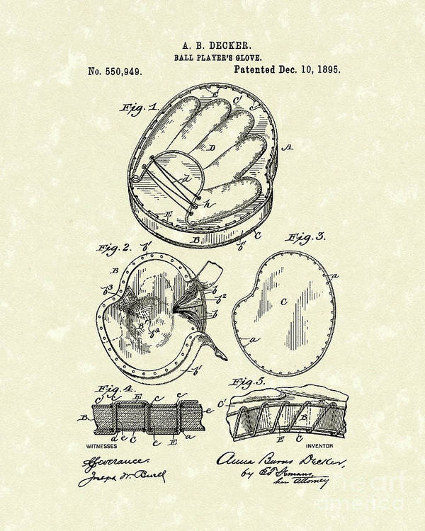 Decker Poster featuring the drawing Baseball Glove 1895 Patent Art by Prior Art Design