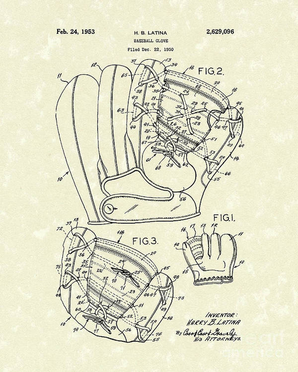 Latina Poster featuring the drawing Baseball Glove 1953 Patent Art by Prior Art Design
