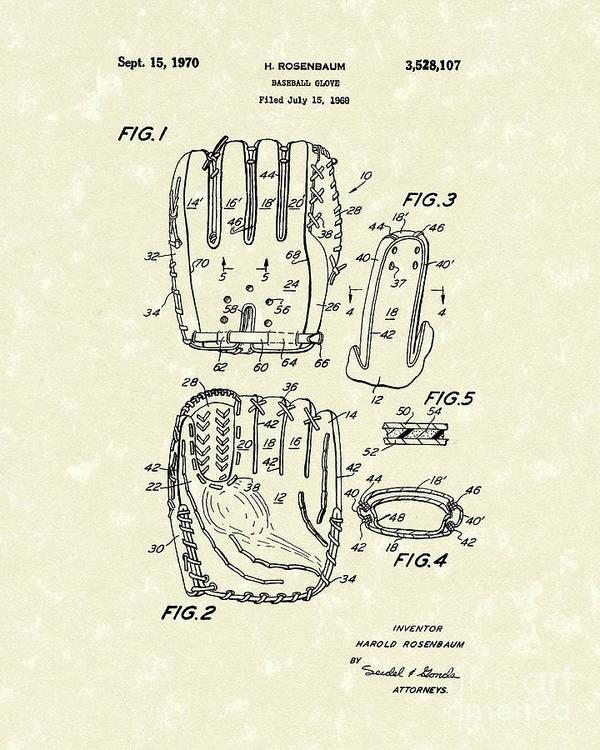 Rosenbaum Poster featuring the drawing Baseball Glove 1970 Patent Art by Prior Art Design