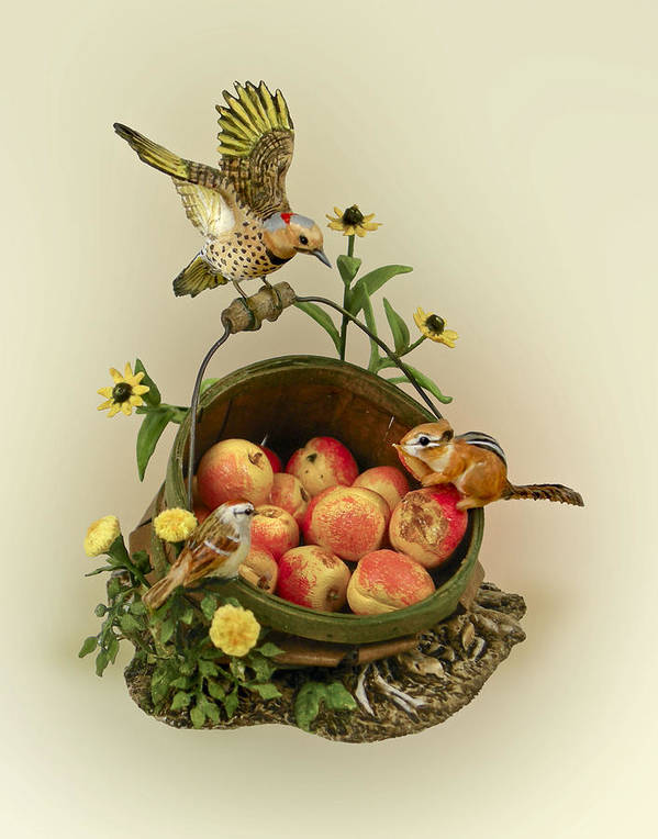 Nature Poster featuring the sculpture Basket Of Peaches And Flicker by Mary Mcgrath